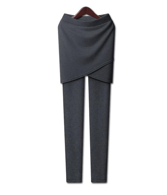 ¡ Caliente! XL-5XL 2015 del invierno de Las Mujeres pantalones casuales espesa los pantalones del lápiz de terciopelo con mini falda más el tamaño de alta legging elástico