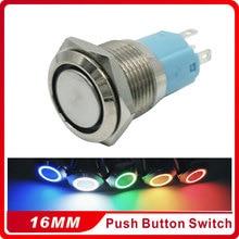 16mm Metal Momentary Push Button Switch LED 5V 12V 24V 110V 220V StainlessLess Steel Waterproof Car Auto Engine PC Power Start цена 2017