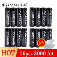 PALO 16pcs High Perfomance Promotion 1.2V NI MH 3000mAh Rechargeable AA Battery Pre charged battery for Toys Camera Microphone
