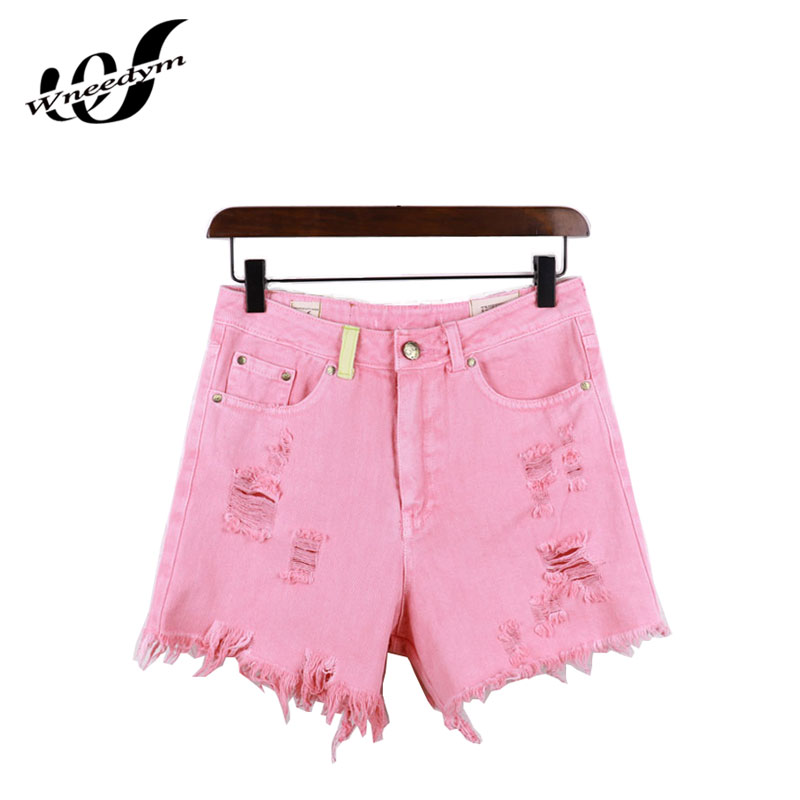 Wneedym New Fashion Street Style Of Europe  The United States Summer jeans Women  2017 Pink Mid Tassel Hole Denim Shorts MYPD02
