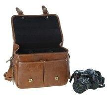 2016 nouvelle Koolertron PU en cuir SLR DSLR étanche Camera Bag Case sac à main épaule sac de messager caméras pour Canon eos, Sj4000