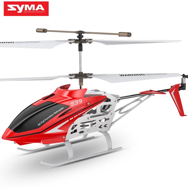 SYMA 3CH Oficial S39 2.4 GHz RC Helicóptero com Giroscópio Led Piscando Brinquedo de Controle Remoto de Alumínio Anti-Choque Crianças presente Vermelho/Branco
