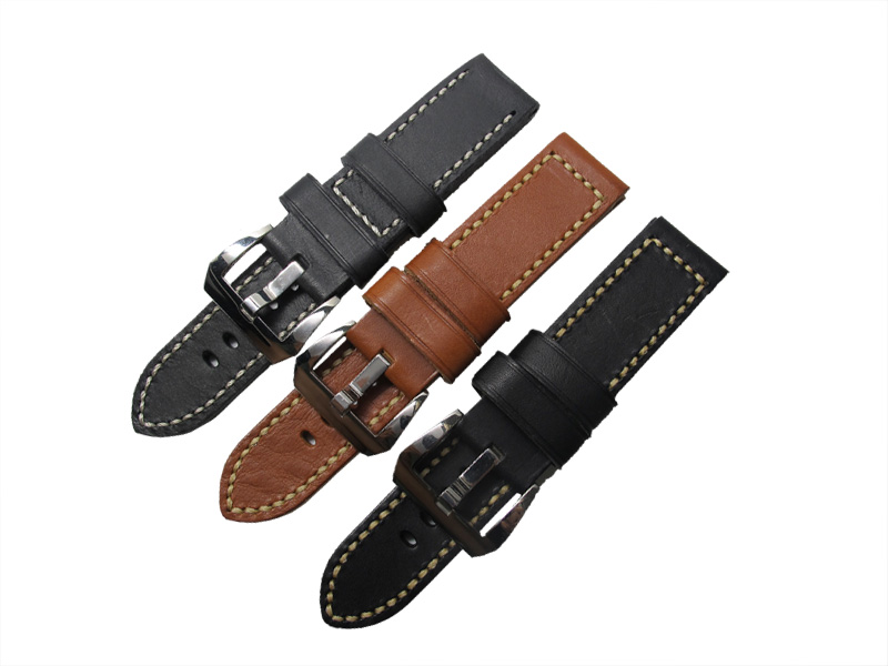 ФОТО 24mm Watch band men Genuine black watchbands brown color Genuine Leather Strap with Polished Stainless Steel Pre-V Buckle
