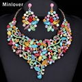 Minlover Indian Choker Necklace Earrings Jewelry Sets African Beads Crystal Flower Gold Plated Women Party Jewelry Set MTL423