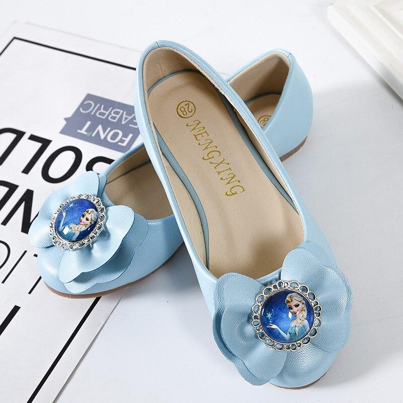 2019 primavera e outono meninas elsa congelado princesa plana sapatos unico para criancas shoes tamanho da