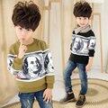 Venda quente de Outono Meninos Camisolas Hoodies Hoodies do Velo Crianças Impresso T Camisas de Manga Longa de Algodão Roupas Fox Frete Grátis