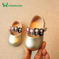 Claladoudou 11-13 CM Ragazza Scarpe Bambino Fiore Rosa Scarpe Carino Ragazze Soft Gold Principessa Scherza il bambino Vestito Da Partito scarpe Per Infant
