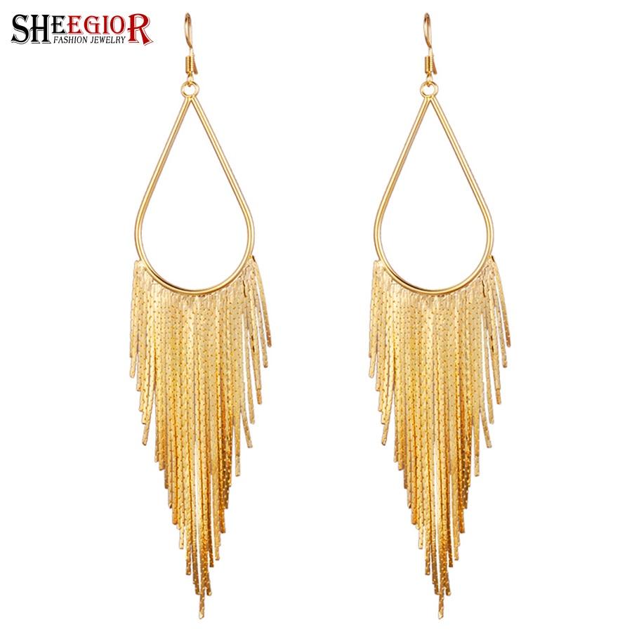 SHEEGIOR Boho Dangle Long Earrings for Women Bijoux Femme Lovely Gold Silver Black Tassel Big Water Drop Earring Fashion Jewelry