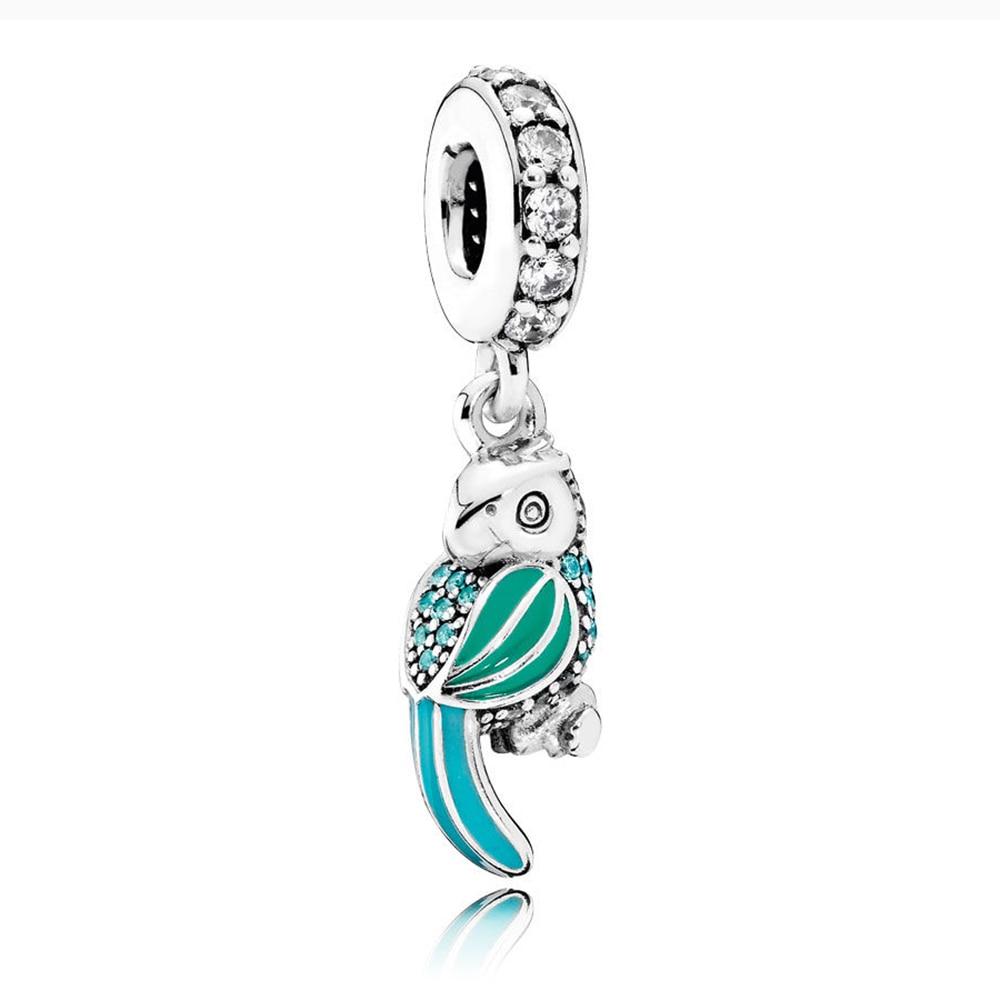 100% echt 925 Sterling Silber Charms Tropical Papagei Charms Fit Ursprüngliche Pandora Armband Diy Schmuck