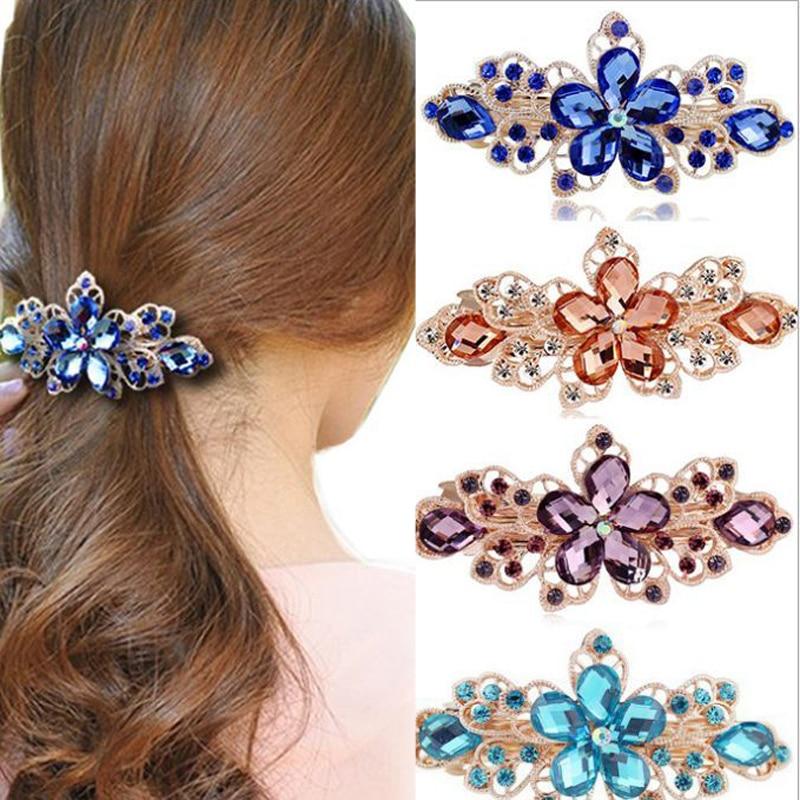 Lnrrabc Fashion Crystal Rhinestones Flower Hair Clips