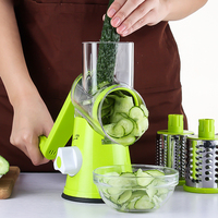 Manual Potato Julienne Carrot Slicer Cheese Grater Stainless Steel Blades Round Slicer Vegetable Cutter Kitchen Tools Green