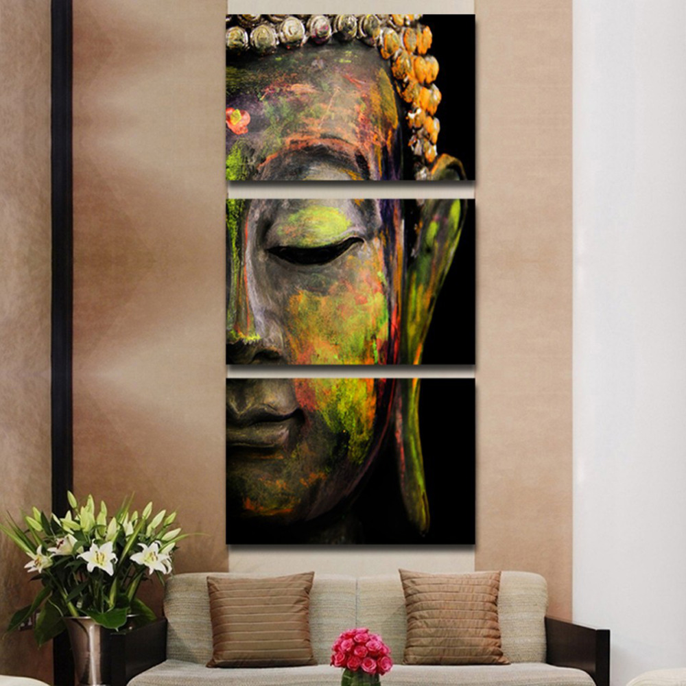 Buy 3 panels canvas print coloured buddha for Where to buy canvas art