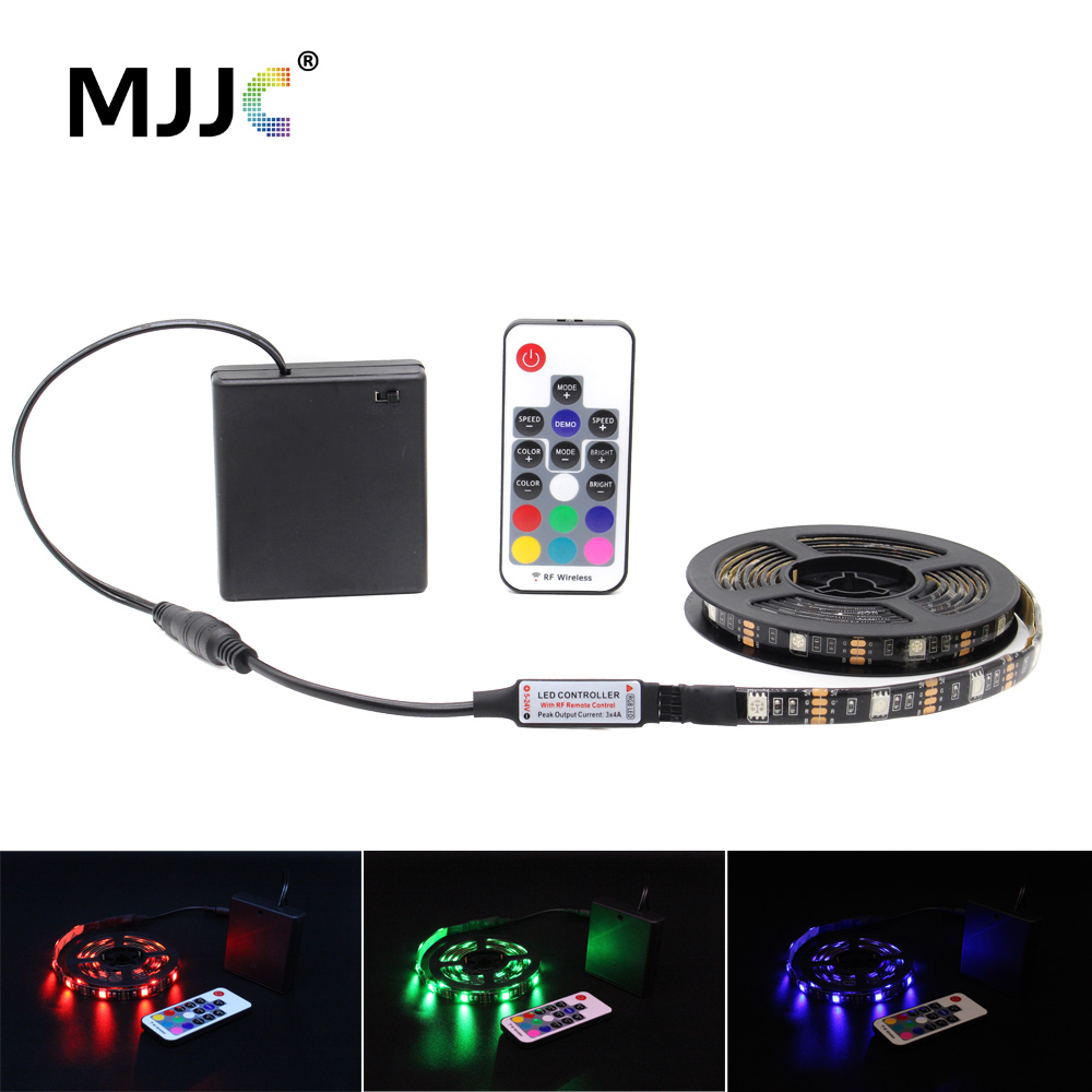 LED Strip Battery Operated Dimmable Waterproof RGB 5V SMD 5050 RF Remote Control TV LED Tape Stripe Ribbon Light for Computer(China)