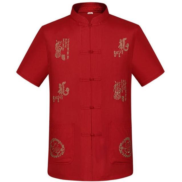 Venda quente de Verão de Algodão de Manga Curta Camisa dos homens de Linho Bordado Chinês dragão kung fu tai chi camisa m l xl xxl xxxl MS086