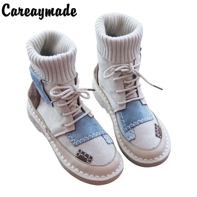 Careaymade Sen women s bottomed flat boots soft bottom comfortable woollen line Martin boots handmade Institute