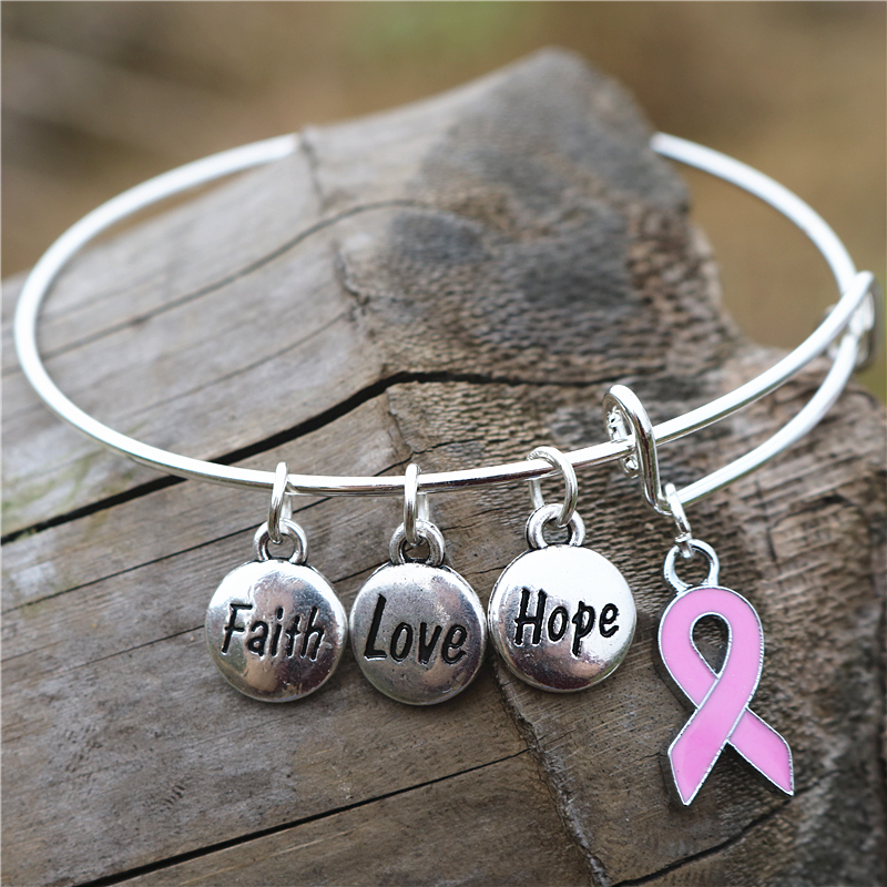 Aliexpress Oneckoha Fashionable T Cancer Awareness Bangle Faith Hope Love Charm Bracelet Wish Jewelry From Reliable Hand Suppliers