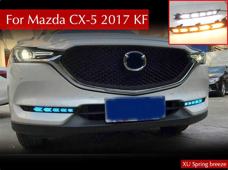 For Mazda CX-5 CX5 2017 2018 KF Car Turn Signal Style DRL Daytime Running Light With Fog Lamp Hole Car Styling for mazda cx 5 cx5 2017 2018 kf 2nd gen car co pilot copilot stroage glove box handle frame cover stickers car styling