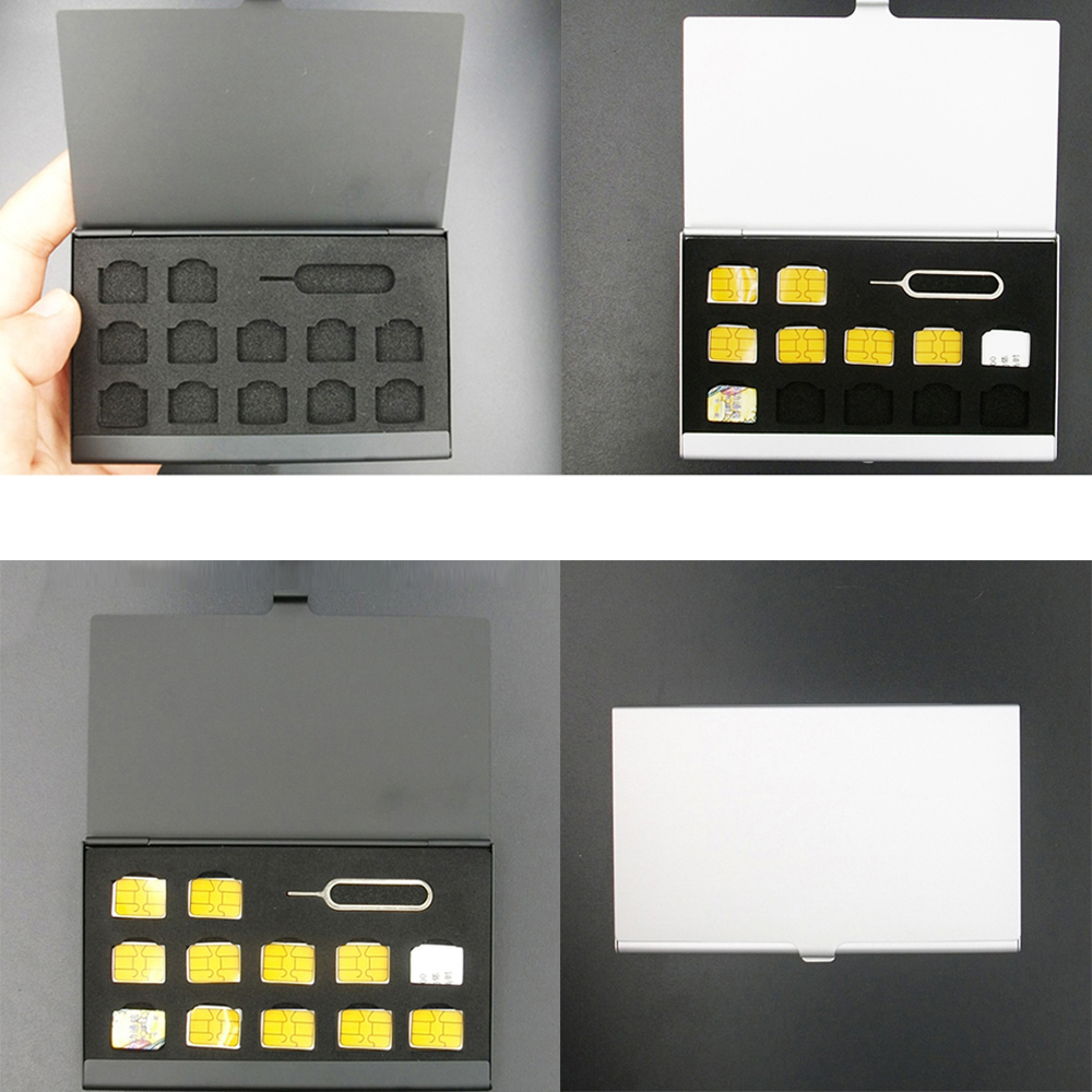 2TF Tarjetas Micro Caja de almacenamiento práctico estuche de tarjeta de aleación de aluminio de la memoria 2