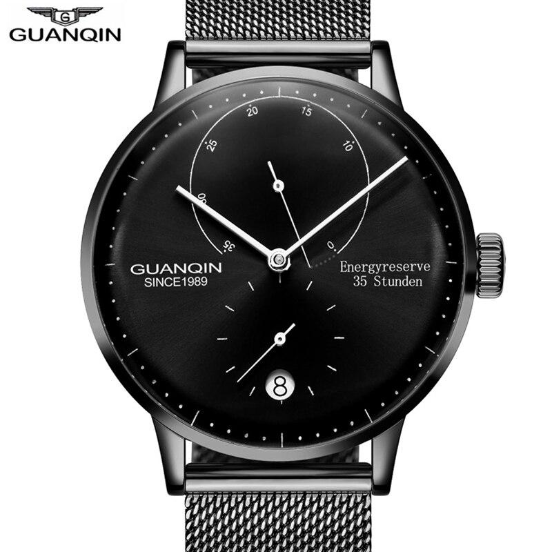 الهيكل العظمي ووتش GUANQIN جديد أزياء بسيطة التلقائي ووتش الرجال أعلى العلامة التجارية ساعات آلية الرجال الطاقة عرض التقويم الياقوت-في الساعات الميكانيكية من ساعات اليد على  مجموعة 1