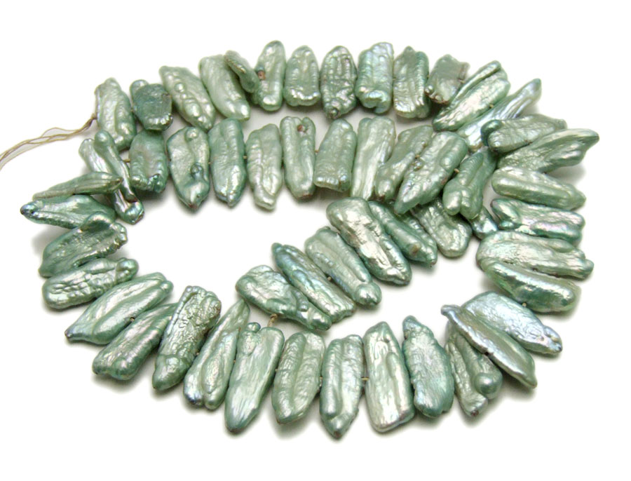 Qingmos 12-15mm Green Natural Freshwater Biwa Pearl Loose Beads for Jewelry Making Necklace Bracelet DIY 14'' l747 Free Shipping