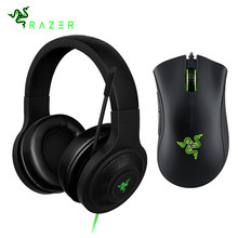 Razer Kraken Penting Headphone Headset dengan MIC Razer DeathAdder Penting 6400 Dpi Mouse Gaming untuk PC/Laptop/Ponsel gamer(China)