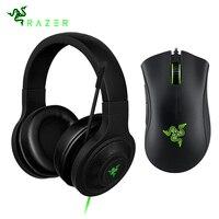 Razer Kraken Essential Headphone Headset With Mic Razer DeathAdder Essential 6400DPI Gaming Mouse for PC/Laptop/Phone Gamer