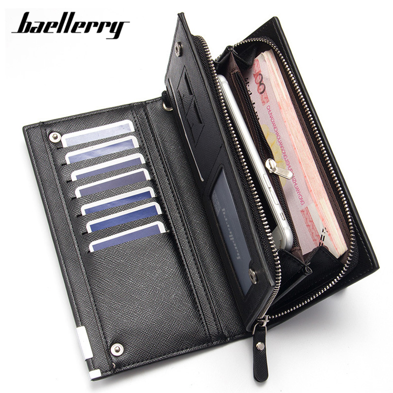 Baellerry Many Departments Men Wallets Leather Long Card Holder Cell Phone Pocket Wristband Man Purse Brand Male Wallet Carteira цена 2017