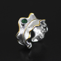 Lotus Fun Sterling Silver 925 Ring for Women 2017 Unique Green Tourmaline Twist Leaf Open Cuff Resizable Ring Band Fine Jewelry