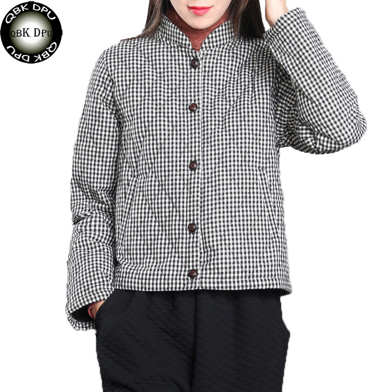 Mom's Autumn Winter Thin Coat Women Cotton Jacket Black and White Plaid Stand Collar   Parkas   Warm Elegant Female Outerwear office