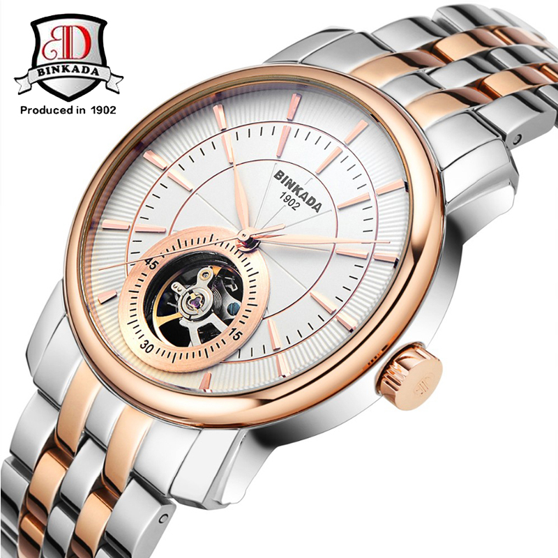Fashion BINKADA Watches Mens Self Wind Automatic Mechanical Watch High Quality Analog Business Men Wristwatch Relogio Masculino deluxe ailuo men auto self wind mechanical analog pointer 5atm waterproof rhinestone business watch sapphire crystal wristwatch