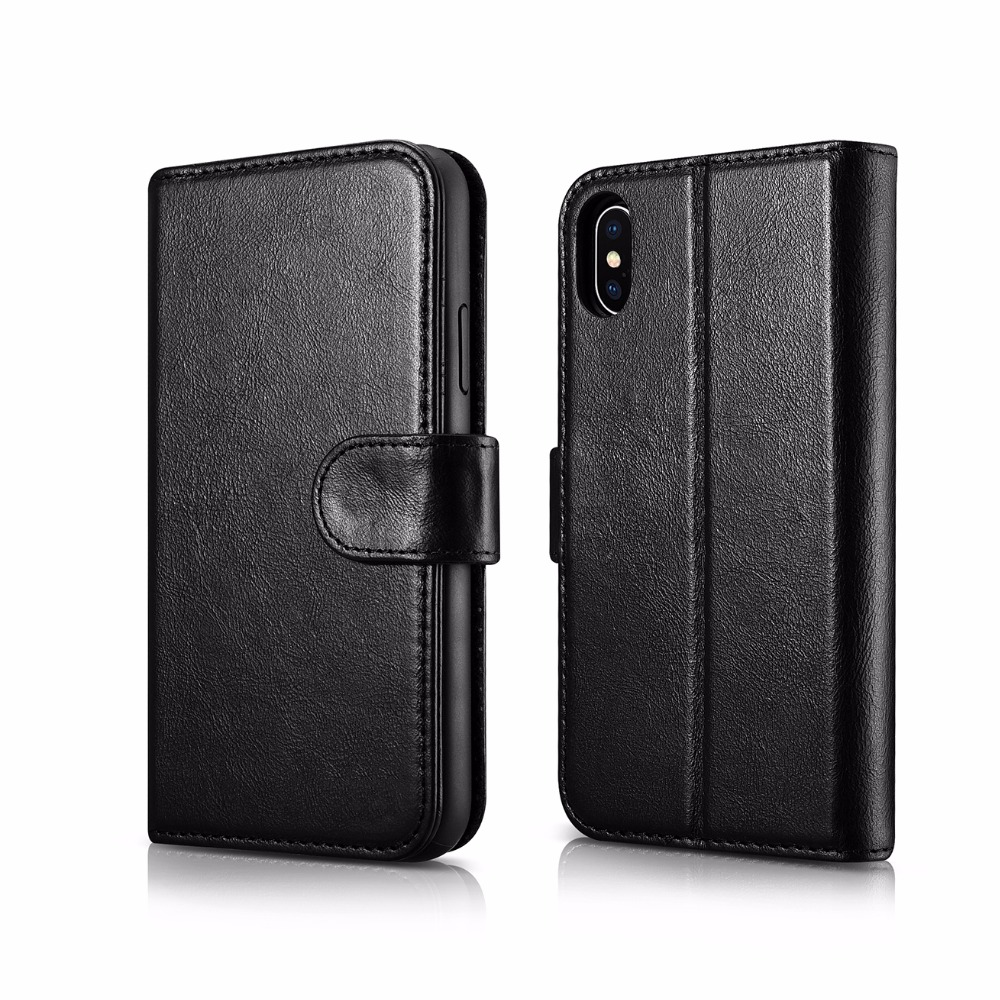 ICARER 2 in 1 Detachable Genuine Leather Cover For iPhone X 5 8 Business Style Retro