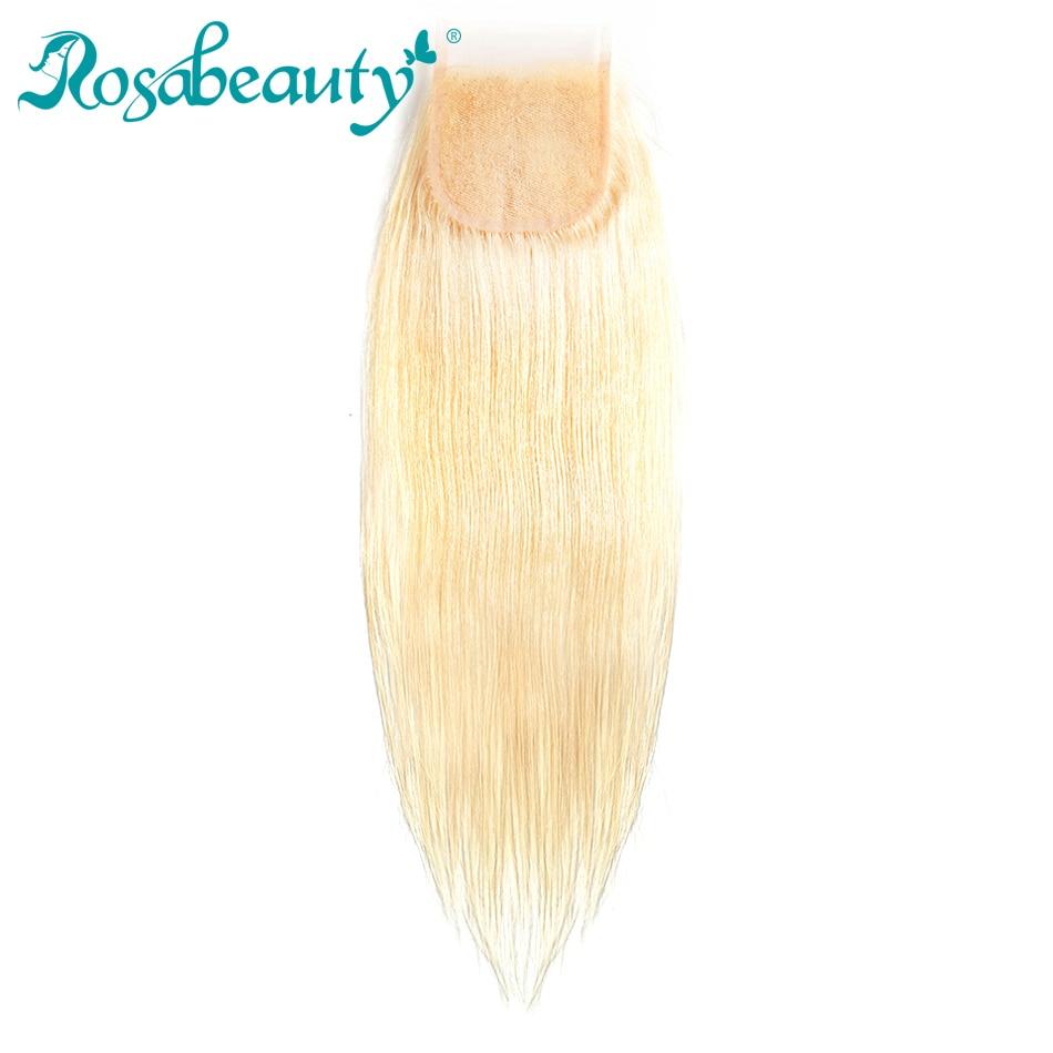 Rosabeauty Middle Part Platinum Blonde Closure 613 Straight Hair Lace Closure Color Human Remy Hair Free