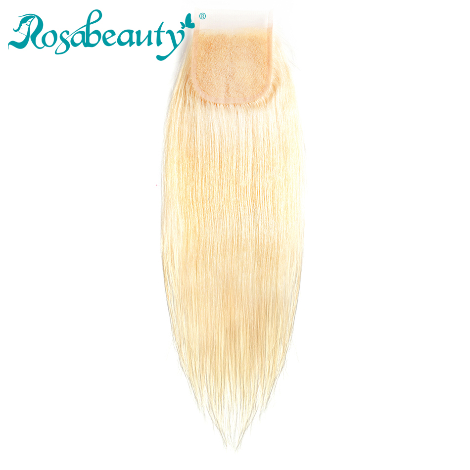 Rosabeauty Middle Part Platinum Blonde Closure 613 Straight Hair Lace Closure Color Human Remy Hair Free Shipping
