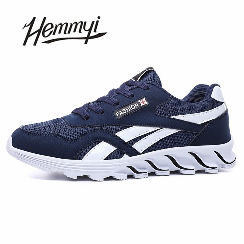 Hemmyi 2018 Men Shoes Breathable Simple Design Sneakers Blcak Blue Gray Male Shoe Adult Fashion Men Casual Shoes Chaussure Homme stylish men s casual shoes with buckle and breathable design