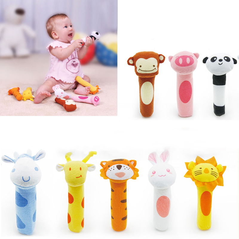 8 Style Baby Animal Shaped Catoon Hand Bell Ring Rattles Kid Plush Soft BB Stick Toys High Quality @ZJF
