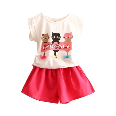 Baby cat suit female 2018 summer new girl childrens clothing childrens cartoon two-piece tide