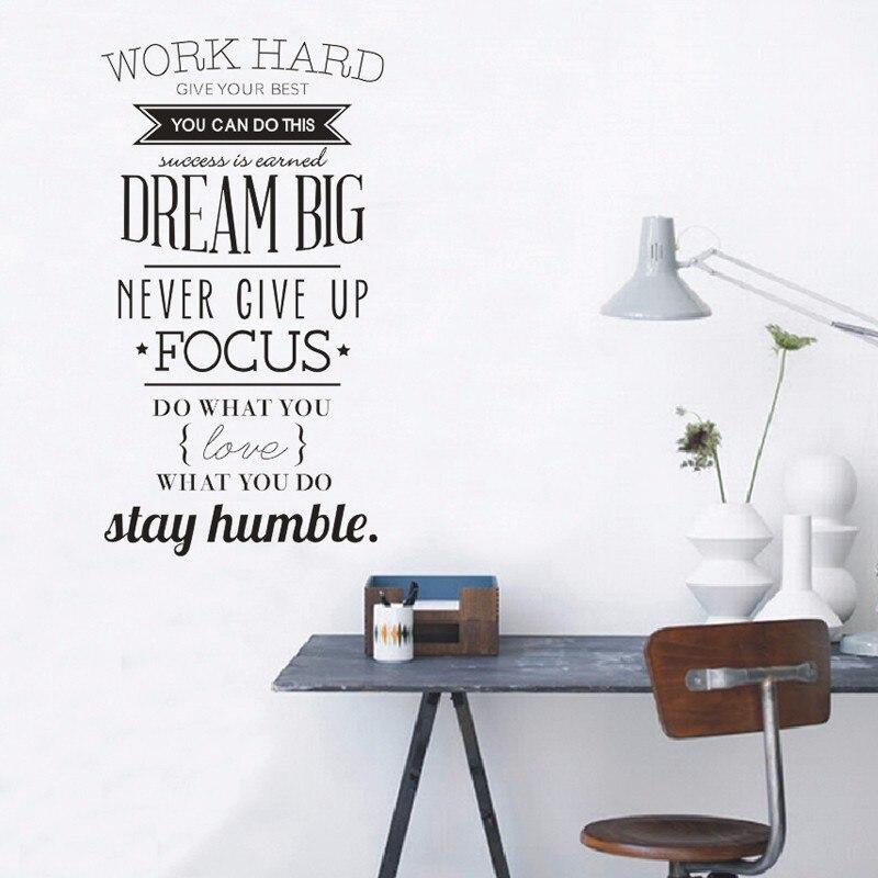 Us 1231 23 Offinspirerende Werk Hard Quotes Vinyl Muursticker Poster Decals Woonkamer Decoratie Behang Home Decor Maat 104x56 Cm In Wandstickers