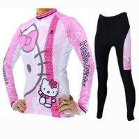 Lovely Hello Kitty Cycling jersey Pink Full zipper MTB bicycle Top clothing 3XL Female Girl Women long sleeve bike jerseys