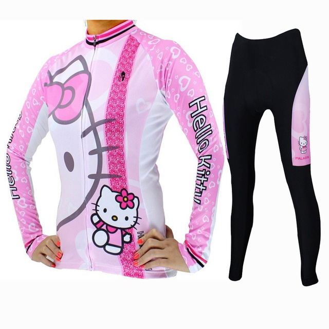 Lovely Hello Kitty Cycling jersey Pink Full zipper MTB bicycle Top clothing 3XL Female Girl Women long sleeve bike jerseys