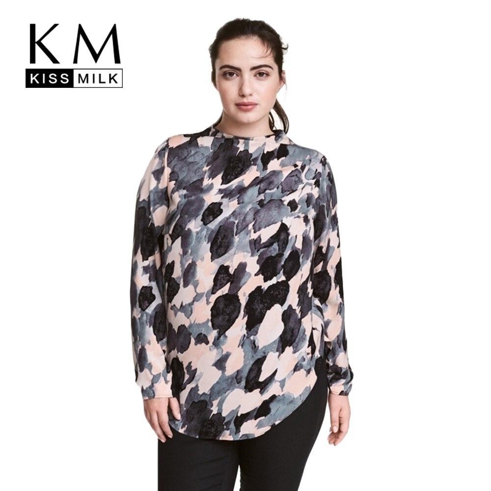 Kissmilk Плюс Размер Женщин Clothing Случайные Свободные Блузка Чернила Печати с длинным Рукавом Блузка О-Образным Вырезом Мода Большой Размер Блузка 5XL 6XL 7XL