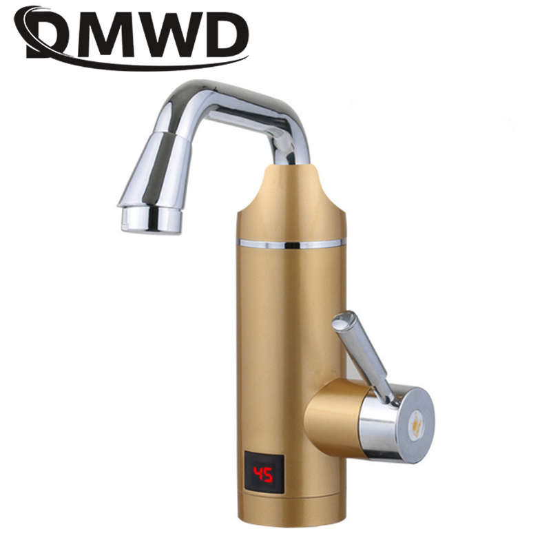 DMWD Electric Instant Hot Water Heater LED Temperature Display Tankless Rapid Heating Faucet Shower Tap Bathroom Kitchen 3000W