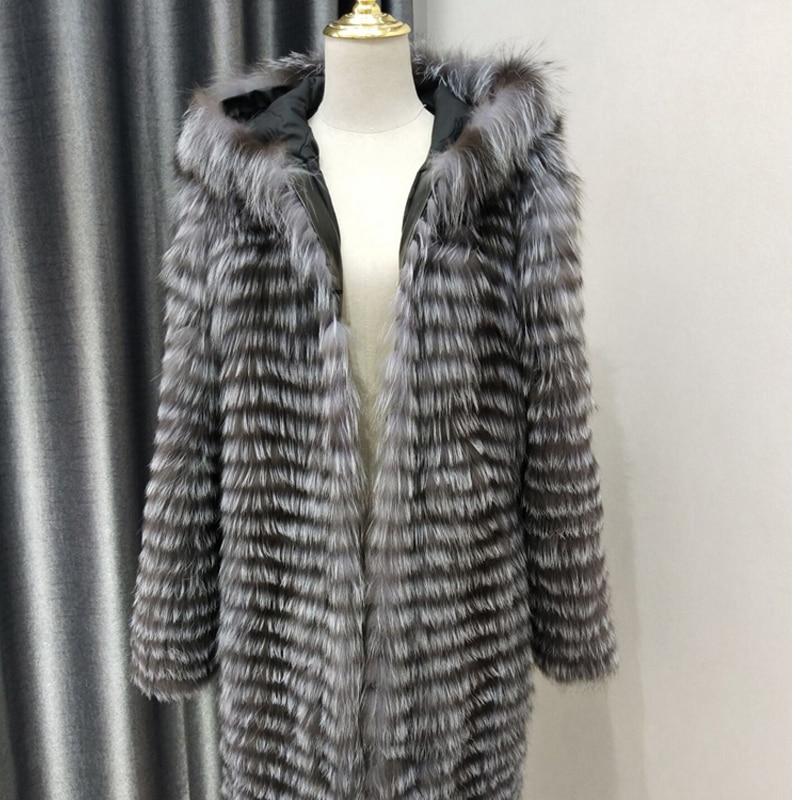 Real silver fox fur coat women winter natural fur jacket female outerwear hooded overcoats slim