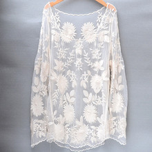 Qbale Long Sleeve Lace Tops Ladies Cute Floral Embroidery Beige White t shirt See-through Sexy transparent women beach cover up