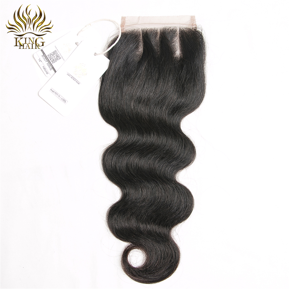 King hair Peruvian Body Wave Lace Closures Remy Hair Three Part 4 4 Bleached Knots 100