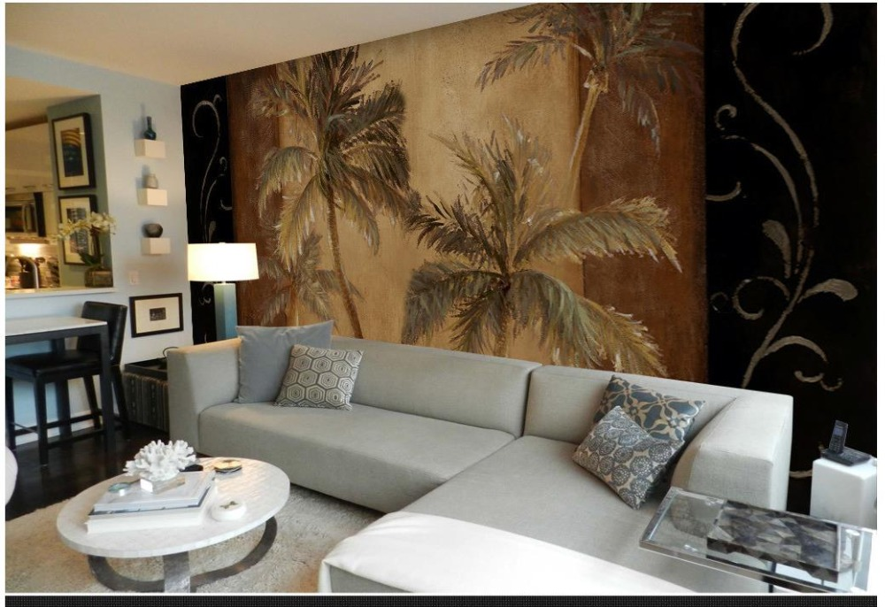 Custom 3d Photo Wallpaper 3d Wall Murals Wallpaper Tropical Coconut Palm  Tree Backdrop Mural Paintings 3d