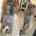2016 Tracksuit Women Clothing Hoodies Set Letter Print Casual Long Sleeve Track Suit Costumes Pullovers Sweatshirt+Pants
