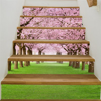 New Creative Self adhesive staircase stickers DIY Sakura tree staircase stickers stair decoration Home ornament decoration