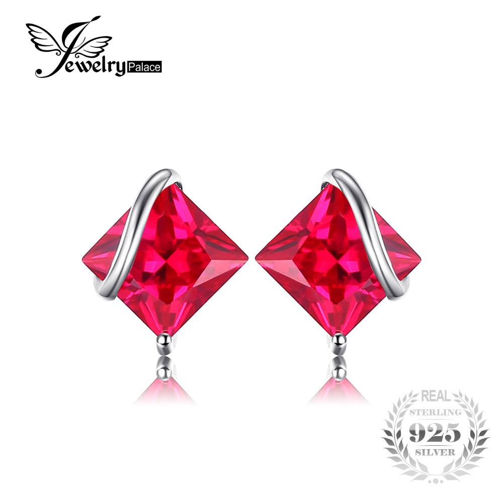 JewelryPalace Classic Square 2 8ct Created Red Ruby Stud Earrings Charm 925 Sterling Silver Brand Wedding