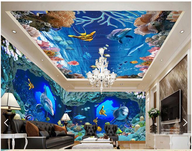 3D Wallpaper Benutzerdefinierte 3d Decke Tapete Wandmalereien Meeresboden Condole Untersttzt Einstellung Wand Wohnzimmer Fototapete