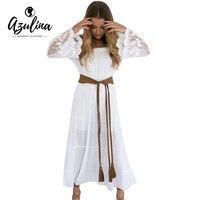 AZULINA Chiffon Summer Dress For Women 2017 White Lace Long Maxi Dress Fashion Off Shoulder A